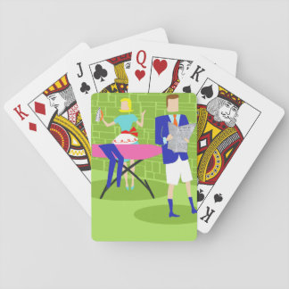 Retro Cartoon Couple at Home Playing Cards