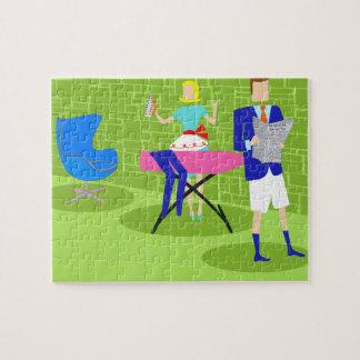 Retro Cartoon Couple at Home Puzzle