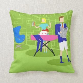 Retro Cartoon Couple at Home Throw Pillow