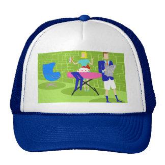 Retro Cartoon Couple at Home Trucker Hat