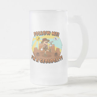 Retro Cartoon- Follow Me! I'm a Geologist! Frosted Glass Beer Mug