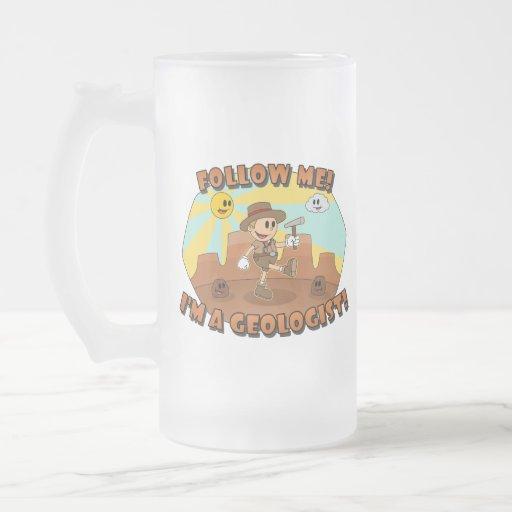 Retro Cartoon- Follow Me! I'm a Geologist! Coffee Mugs