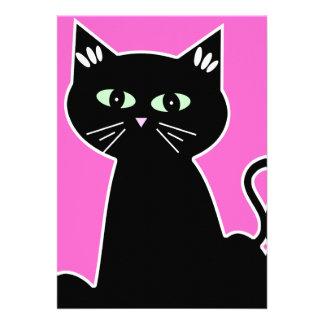 Retro Cartoon Green Eyed Cat Party Invitation