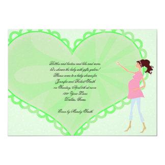 Retro Cartoon Green Heart Baby Shower Invitation