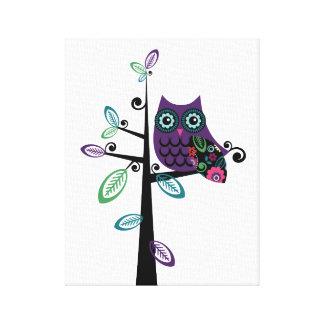 Retro Cartoon Owl in His Funky Tree Canvas Print
