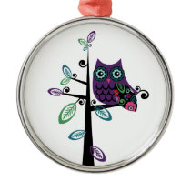 Retro Cartoon Owl in His Funky Tree Metal Ornament