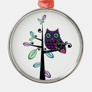 Retro Cartoon Owl in His Funky Tree Metal Ornament