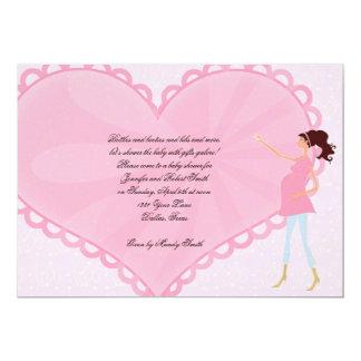 Retro Cartoon Pink Heart Baby Shower Invitation