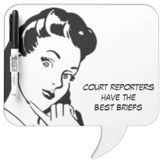 Retro Cartoon Woman Court Reporting Funny Quote Dry Erase Whiteboards