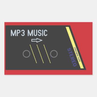 Retro Cassete Player RED Rectangular Sticker