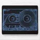 Retro Cassette Black and Blue Mouse Pad