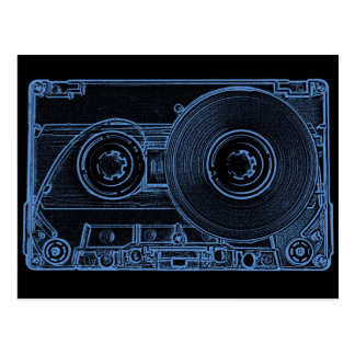 Retro Cassette Black and Blue Post Cards