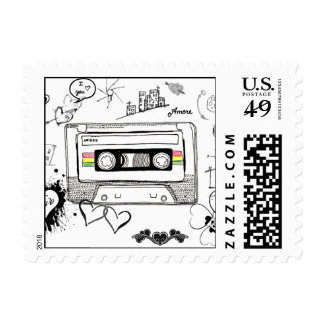 Retro Cassette Doodle Love Valentine Postage