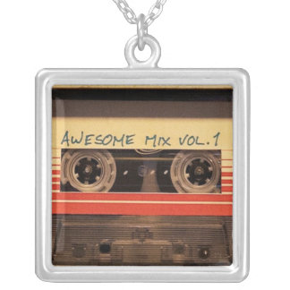 Retro cassette keychain silver plated necklace