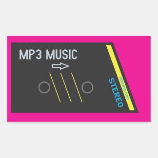 Retro Cassette Player HOT PINK Rectangular Sticker