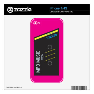 Retro Cassette Player HOT PINK Skins For iPhone 4