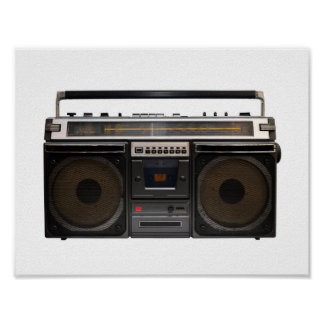 retro cassette player music hipster stereo tape poster