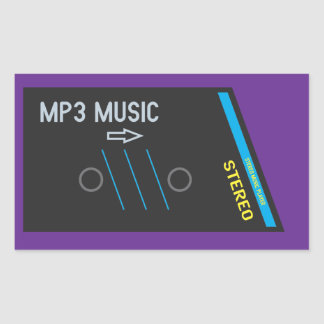 Retro Cassette Player PURPLE Rectangular Sticker