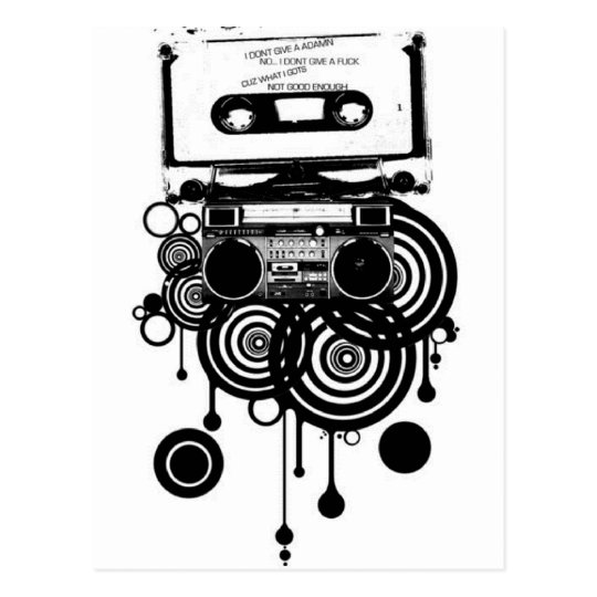 retro cassette postcard