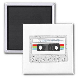 Retro cassette tape 80s style 2 inch square magnet