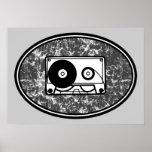 Retro Cassette Tape Black & White Print