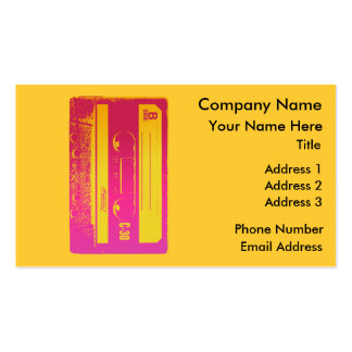 Retro Cassette Tape Design in Pink & Yellow Business Card