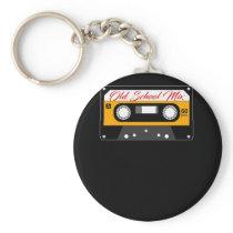 Retro Cassette Tape Design Old School Mix Keychain