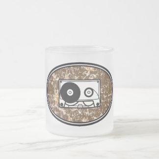 Retro Cassette Tape Orange Frosted Glass Coffee Mug