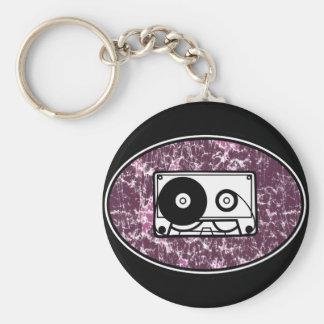 Retro Cassette Tape Pink Basic Round Button Keychain