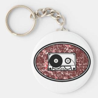 Retro Cassette Tape Red Basic Round Button Keychain