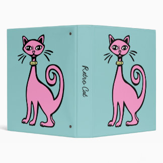 Retro Cat 3 Ring Binder