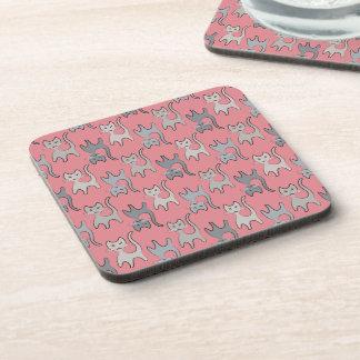Retro Cat Graphic Pattern Gray Beverage Coaster