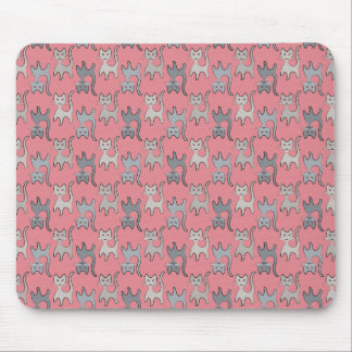 Retro Cat Graphic Pattern Gray Mouse Pad