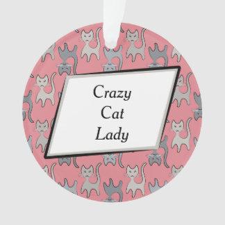 Retro Cat Graphic Pattern Gray Ornament
