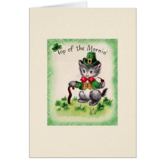 Retro Cat Leprechaun St. Patrick's Day Card