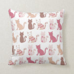 Retro Cat Lovers Pattern Throw Pillow