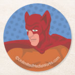 Retro Cat-Man Round Paper Coaster