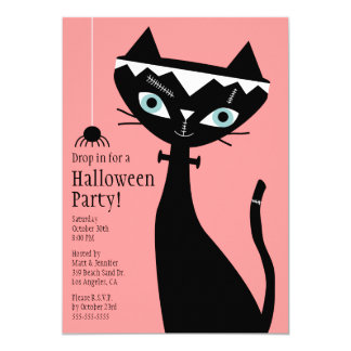 Retro Cat of Frankenstein Halloween Party Invite