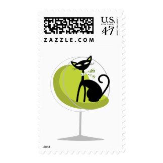 Retro Cat Postage Stamp