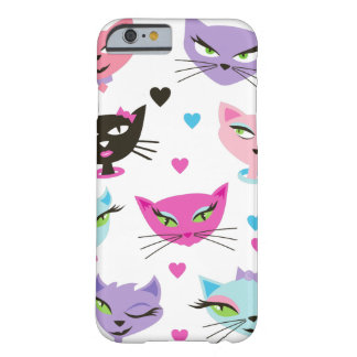 Retro Cat Pretty Kitty Girl Cats Hearts Bows Barely There iPhone 6 Case
