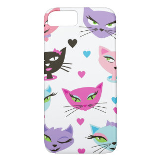 Retro Cat Pretty Kitty Girl Cats Hearts Bows iPhone 8/7 Case