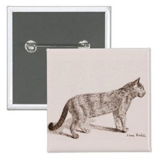 Retro Cat Sketch, Nostalgic Children Book Style Pinback Button