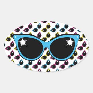Retro Cat Sunglasses Pattern with Blue Oval Sticker