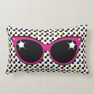 Retro Cat Sunglasses Pattern with Pink Lumbar Pillow