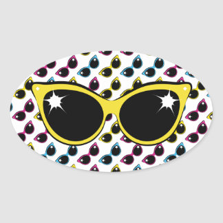 Retro Cat Sunglasses Pattern with Yellow Oval Sticker