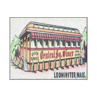 Retro Central Square Diner 20x16 Canvas Print