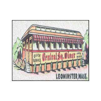 Retro Central Square Diner Wrapped Canvas Print