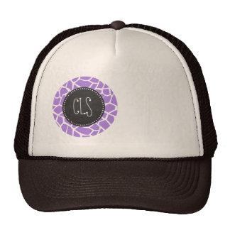 Retro Chalk; Amethyst Purple Giraffe Animal Print Hats