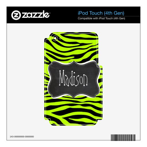 Retro Chalk Chartreuse Zebra Stripes Animal Print Decals For iPod Touch 4G
