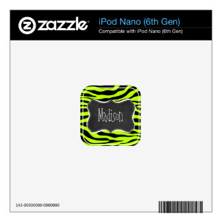 Retro Chalk Chartreuse Zebra Stripes Animal Print iPod Nano Decal